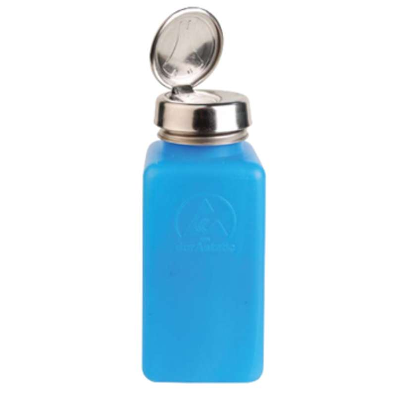 ESD-Safe Blue durAstatic™ Solvent Dispenser Bottle with One-Touch Pump Top, 8 oz