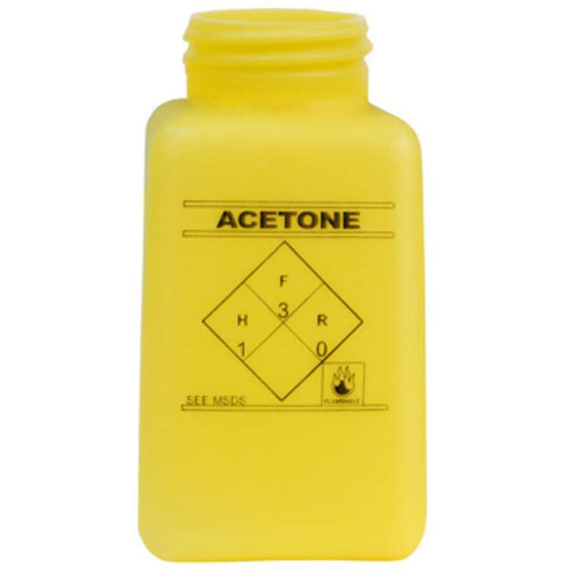 ESD-Safe Yellow durAstatic™ Acetone Solvent Dispenser Bottle without Lid, 6 oz