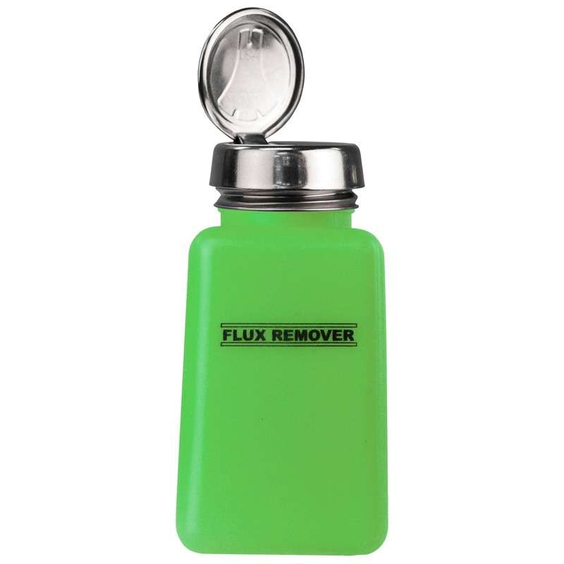 ESD-Safe Green durAstatic™ Flux Remover Solvent Dispenser Bottle with One-Touch Pump, 6 oz