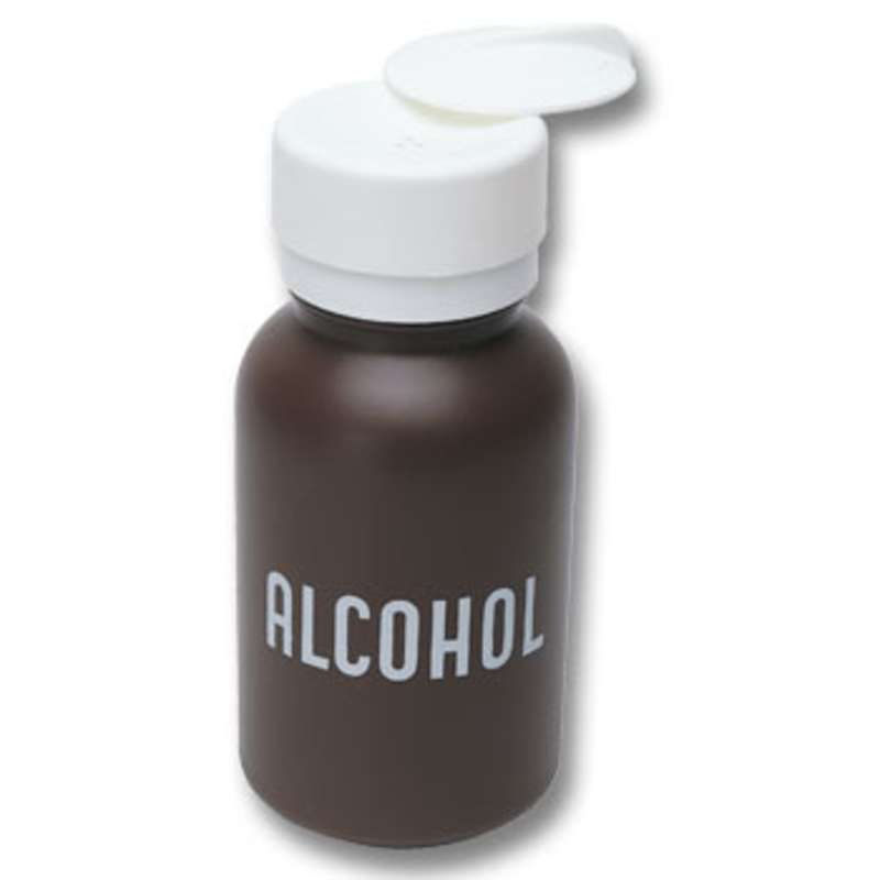 Non-ESD Brown Alcohol Bottle with Lasting-Touch Pump and White Lid, 8 oz.