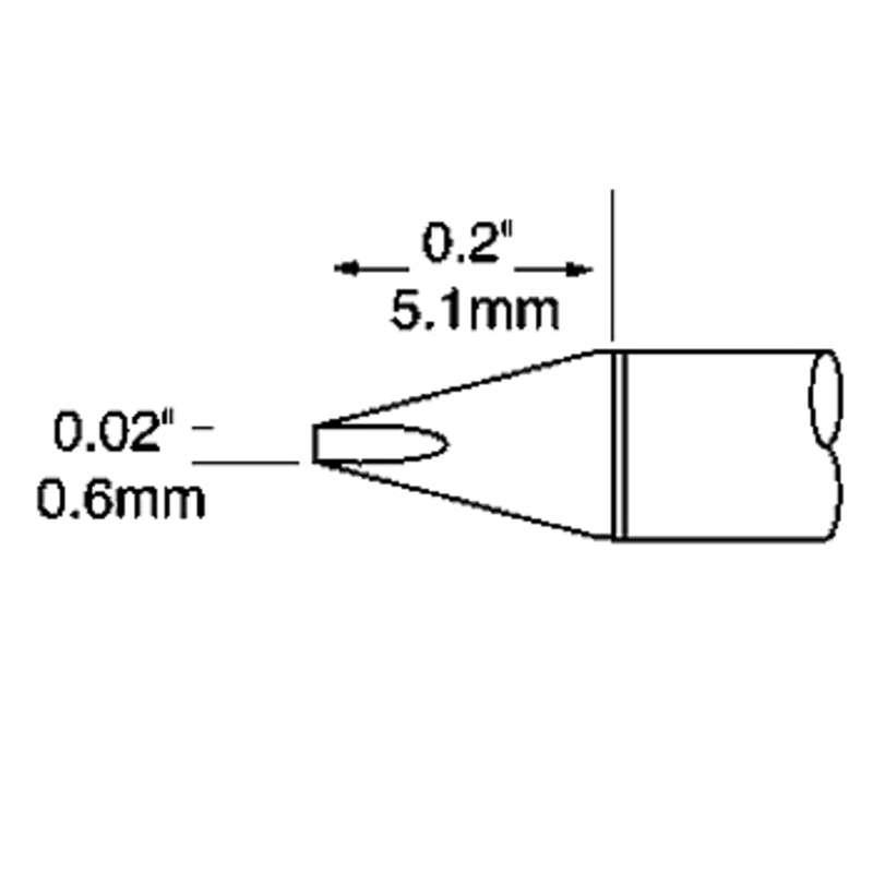 UFTC 600 Series Ultra-Fine™ Chisel Tip Solder Cartridge for MX-H2-UF Iron, 5.1mm x 0.6mm