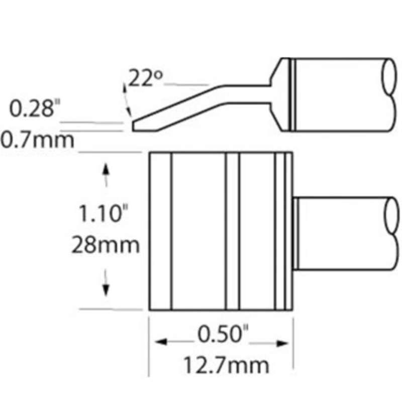 PTTC 800 Series Blade Tweezer Tip Solder Cartridge, 28.0mm, 2 per Pack