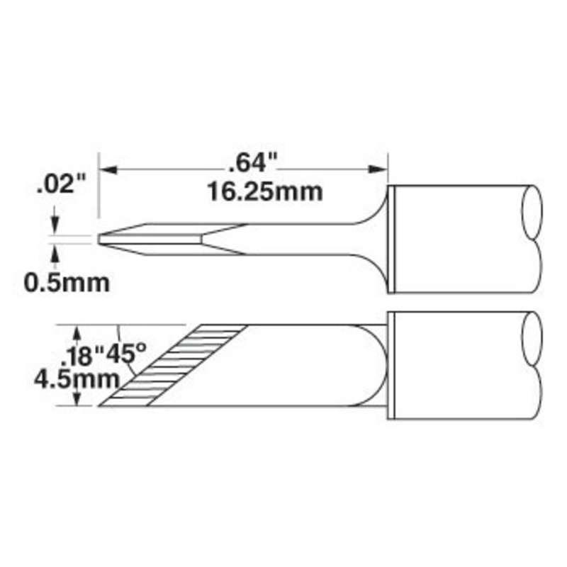 SSC 700 Series Knife Drag Solder Tip Cartridge for SP200 Iron, 0.50mm