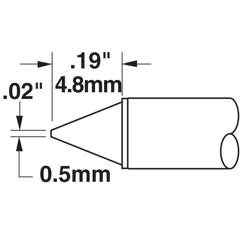 STTC 500 Series Conical Tip Solder Cartridge for MX Series Systems, 0.50mm