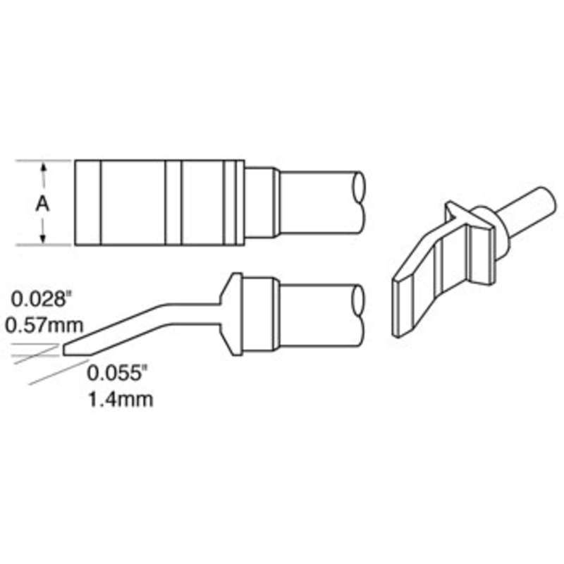"Heavy Duty Tweezer Solder Tips, Temperature Sensitive for MFR-HPT and MFR-H4-TW Handpieces, .25"", 2 per Pack"