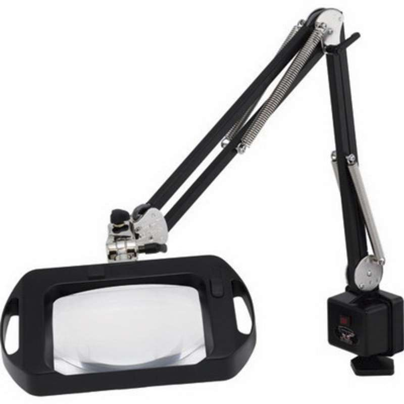 "ESD-Safe Vision-Lite® 3-Diopter Fluorescent Magnifier with 43"" Reach and Clamp Base, Carbon Black"