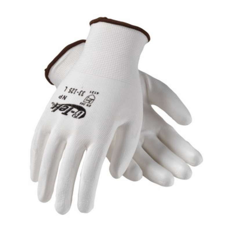 G-Tek® NP 33-125 Continuous Knit Polyurethane Coated Glove, Medium, White/Yellow  25 DZ/CA