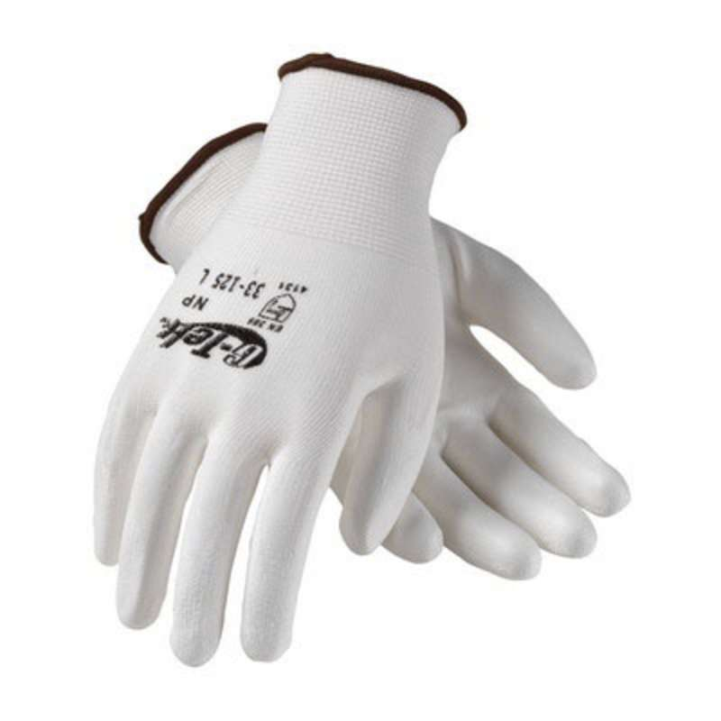 G-Tek® NP 33-125 Continuous Knit Polyurethane Coated Glove, Small, White/Red  25 DZ/CA