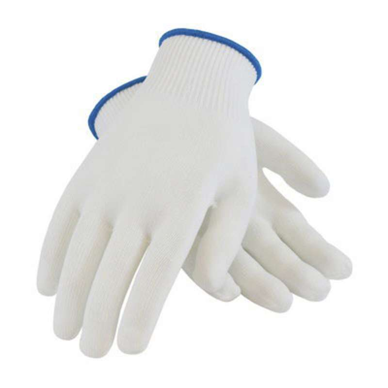 PIP 40-730 Knitwrist 100% Seamless Knit Nylon Knit Glove, Large, White/Blue  25 DZ/CA