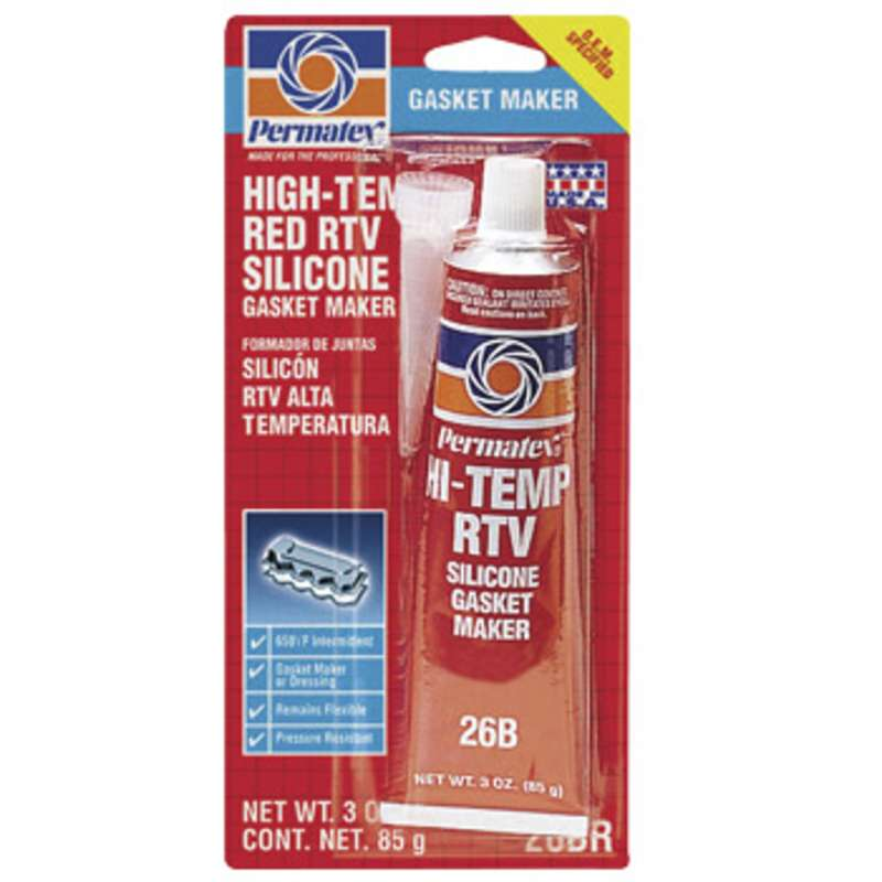 High Temperature Red RTV Silicone Gasket Maker, 3 oz. Tube