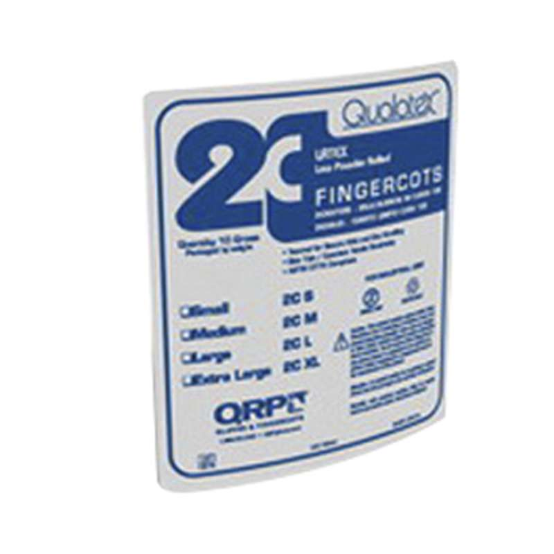 Qualatex® Disposable 3.5 Mil Latex Finger Cots, Powdered, Small, 1440/PK
