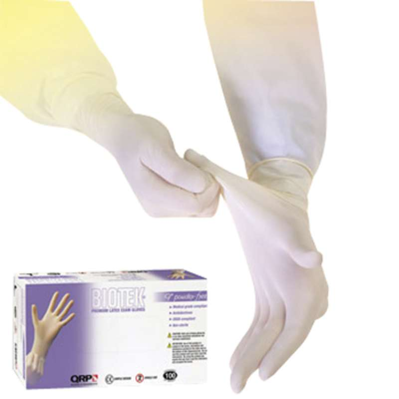 "Biotek® Medical Grade 6mil White Powder-Free Latex Gloves, Large, 9"" Long, 100 per Package"