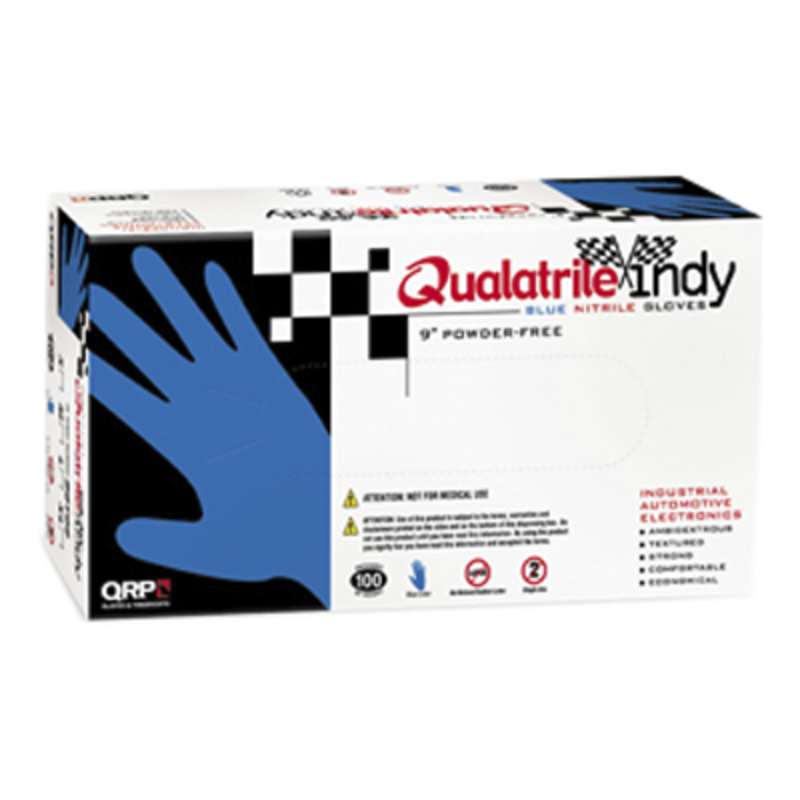 Qualatrile™ Indy BQY09 Beaded Cuff Powder-Free 100% Nitrile Chemical Resistant Gloves  X-Large 100/BX