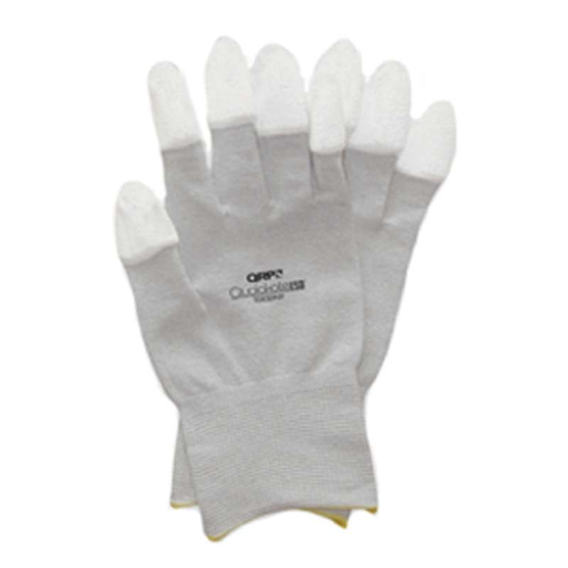 ESD-Safe Qualakote® Grey Assembly and Inspection Gloves with White Nitrile Coated Fingertips, Medium, 1 Pair