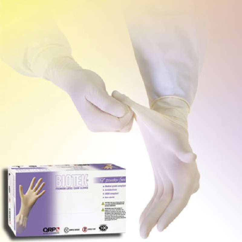 "Biotek® Medical Grade 6mil White Powder-Free Latex Gloves, Small, 9"" Long, 100 per Package"
