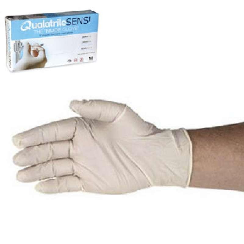 "ESD-Safe Qualatrile SENS!® 3mil White Powder-Free Nitrile ""Nude Glove""®, Medium, 9"" Long, 100 per Package"