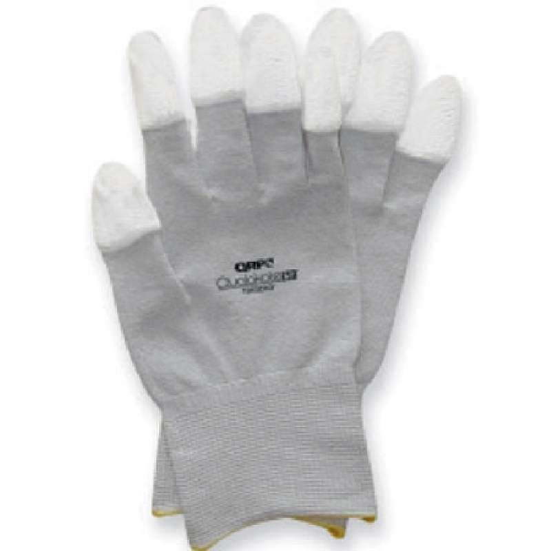 ESD-Safe Qualakote® Grey Assembly and Inspection Gloves with White Nitrile Coated Fingertips, 2X-Lar