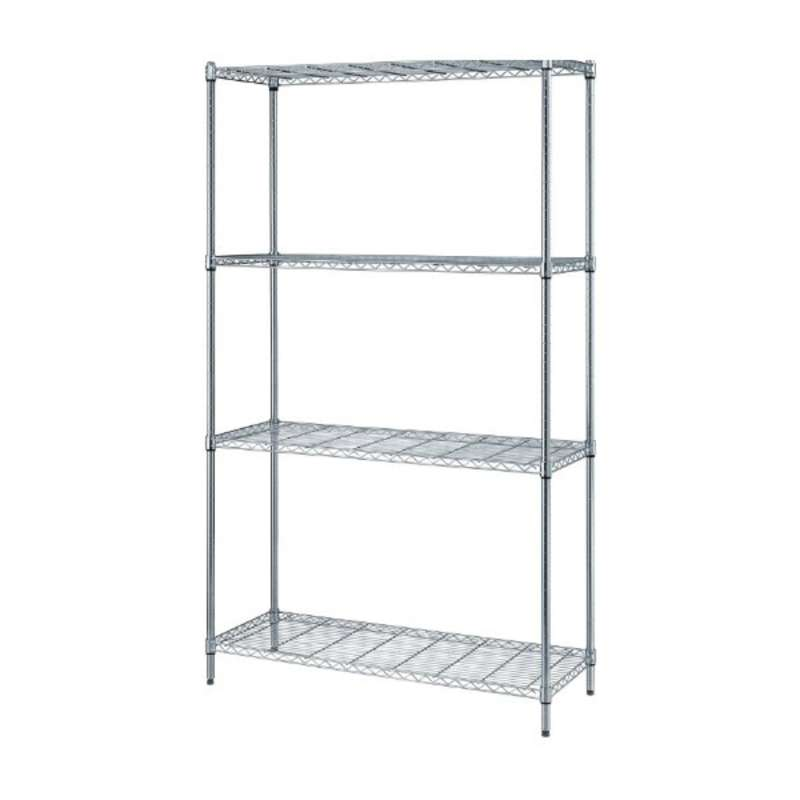 chrome finish wire shelving unit with 4 shelves 18 x 30 x 72. Black Bedroom Furniture Sets. Home Design Ideas