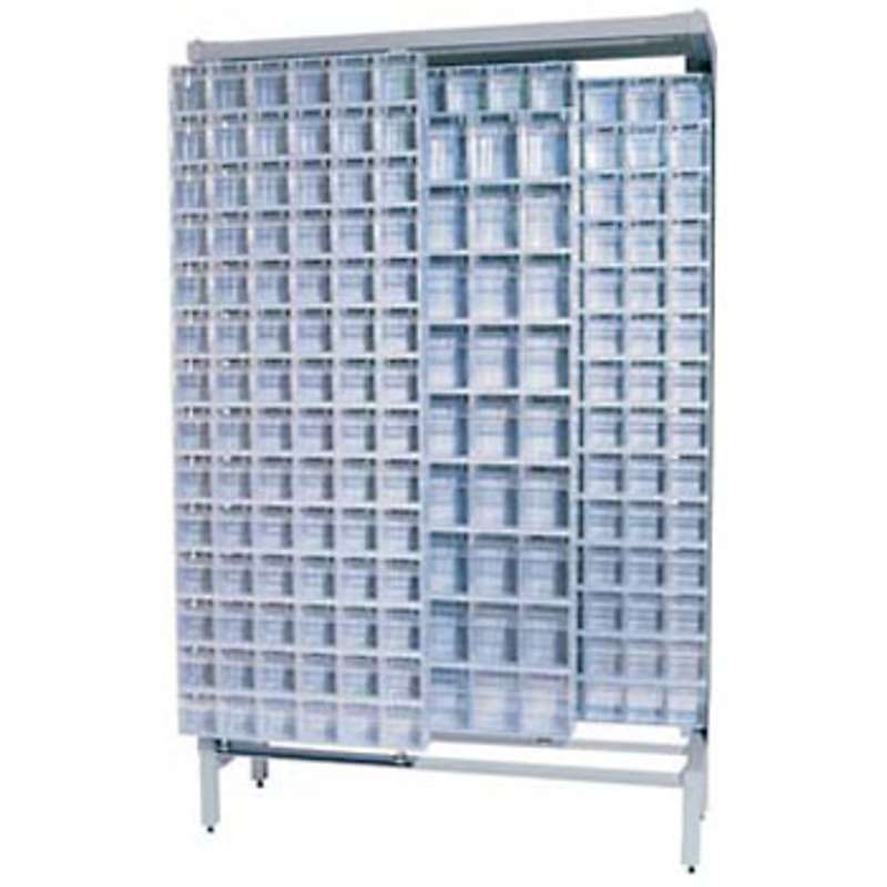 Free Standing Slider System, 4 Panels with 303 Tip Out Bins (9 QTB305 and 43 QTB306) in Grey, 18 D x