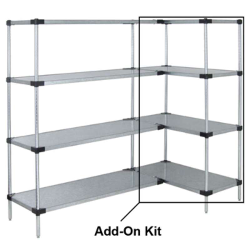 Solid Shelving Unit Add-On Kit, 4 Shelves 24 x 48 x 63in - Stainless Steel
