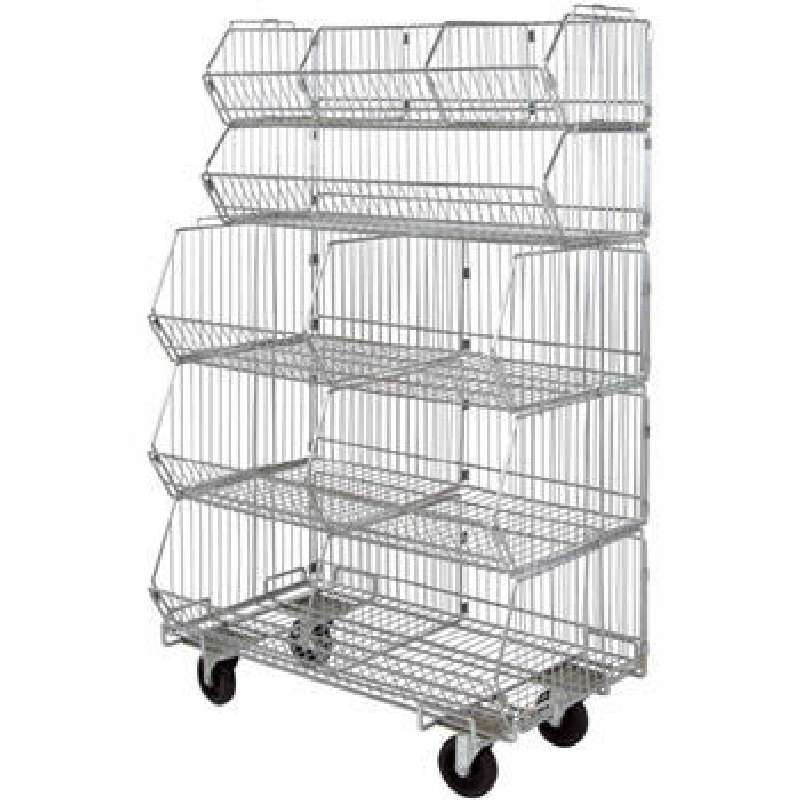 Great Mobile Stacking Basket Unit, 5 Baskets, 5 Dividers, 1 Dolly, Approx 20 W X  36 L ...