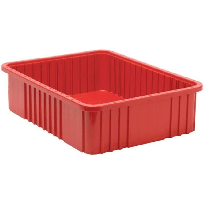 Dividable Grid Container, 22-1/2 x 17-1/2 x 6 in, Red, 3 per Case