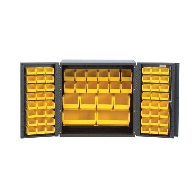 All-Welded Mini Cabinet with Bins, 36 W x 24 D x 36in H, 66 Ultra Bins in Blue (24 QUS210, 24 QUS220, 12 QUS230, 4 QUS240, 2 QUS250)