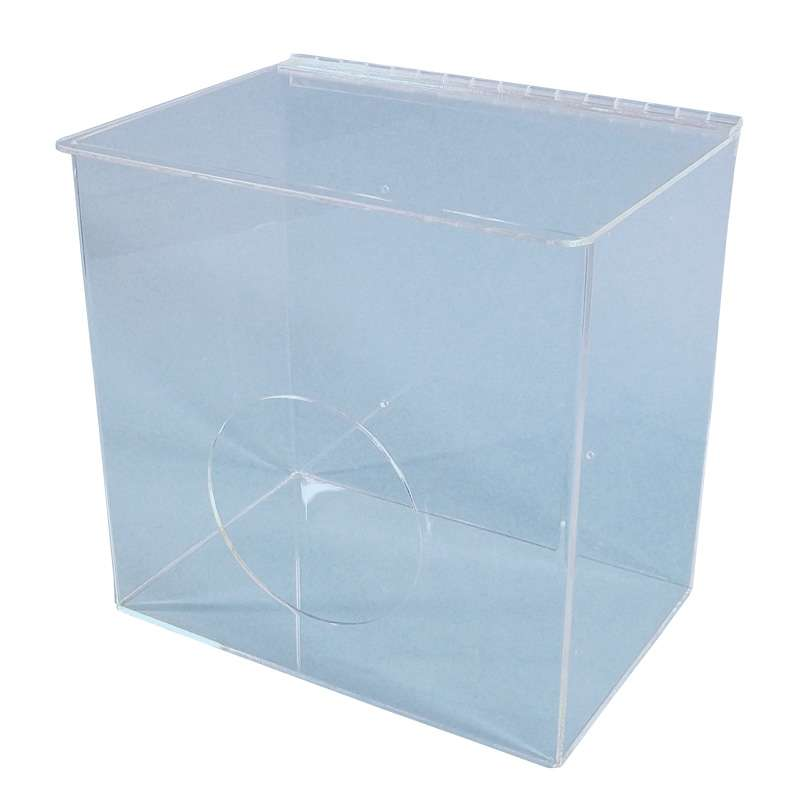 Acrylic 1 Compartment Cleanroom Dispenser for Bouffants with Front Access and Hinged Lid, Clear, 12