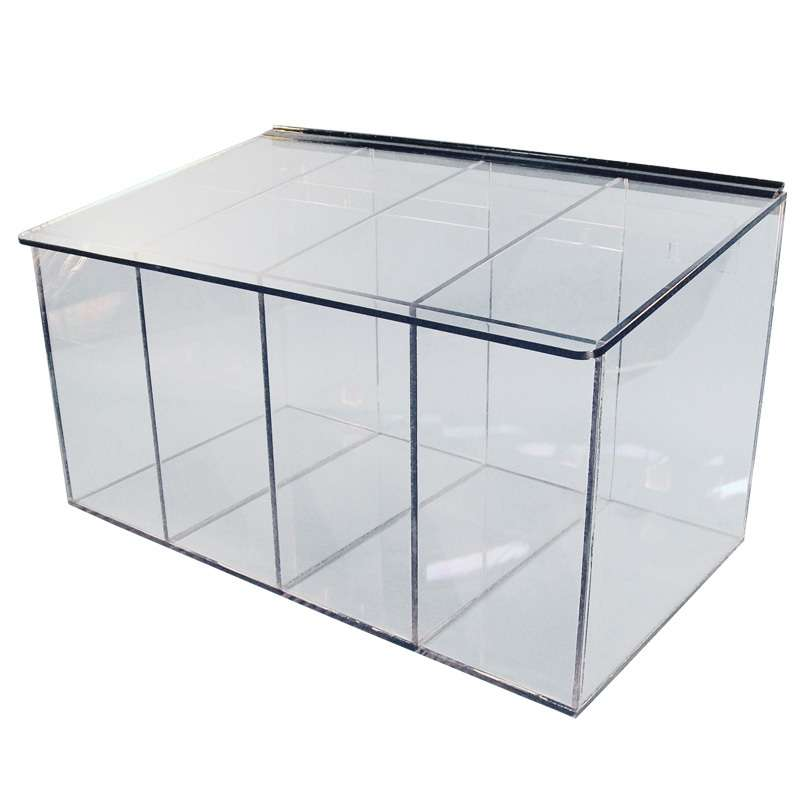 """Acrylic 4 Compartment Cleanroom Glove Dispenser with Sloping Lid, Clear, 21 x 12 x 12"""""""