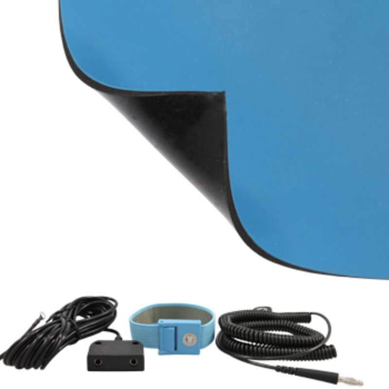 FS Series 2-Layer Diss/Cond Smooth Econo Rubber Rubber Worktop Mat Kit with Wrist Strap, Ground Cord and Two Snaps, Blue/Black, 24 x 72 x .080
