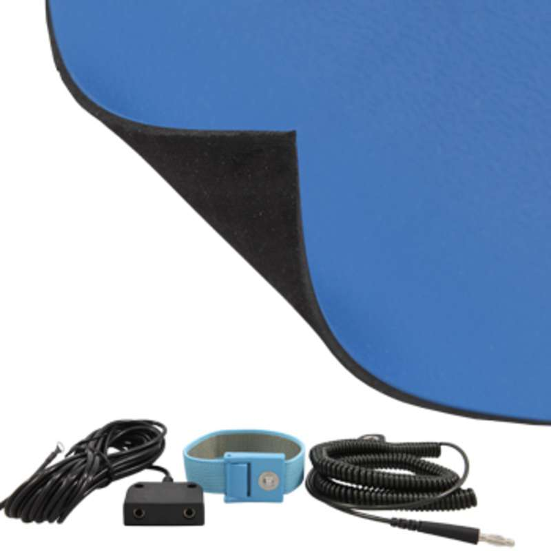 FT Series 2-Layer Diss/Cond Textured Heavy Duty Rubber Worktop Mat Kit with Wrist Strap, Ground Cord and Two Snaps, Dark Blue/Black, 30 x 60 x .080