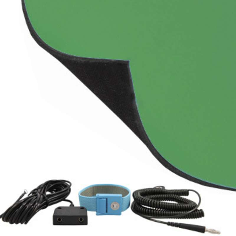 FT Series 2-Layer Diss/Cond Textured Heavy Duty Rubber Worktop Mat Kit with Wrist Strap, Ground Cord and Two Snaps, Green/Black, 24 x 72 x .080