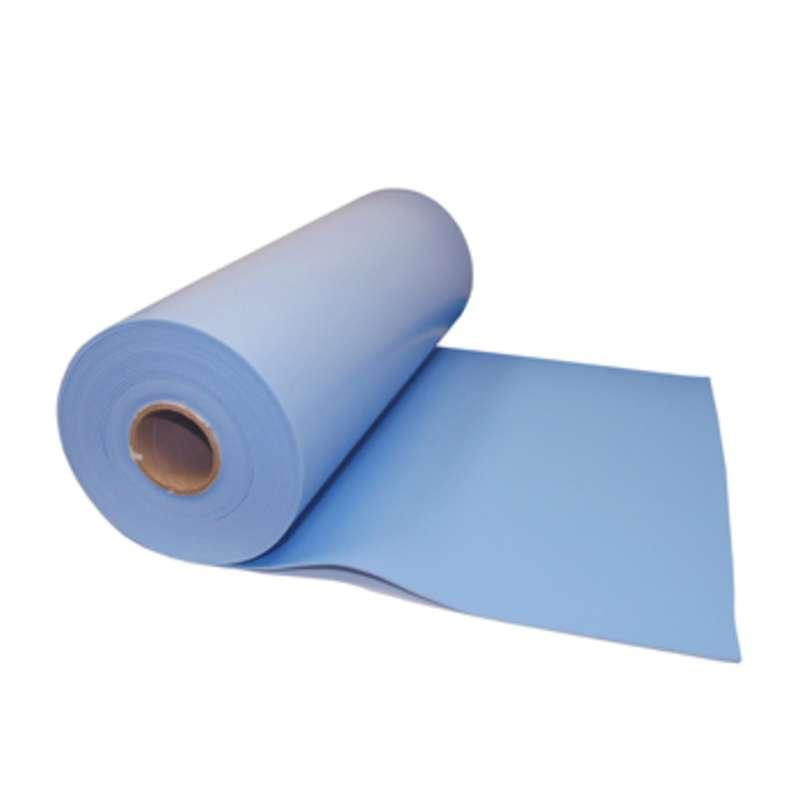 """VT Series 3-Layer Dissipative Vinyl Work Top Mat Roll, Blue, 30"""" x 50' x .125"""