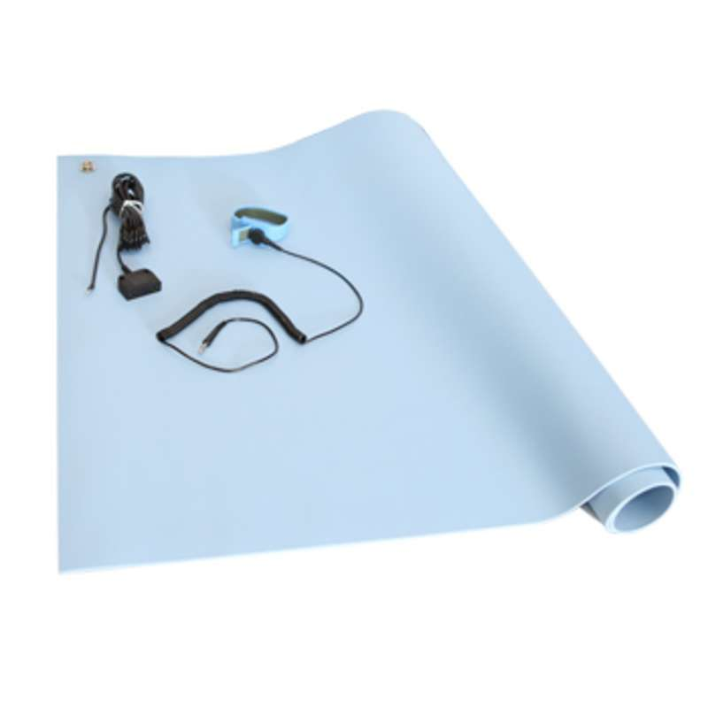 VT Series 3-Layer Dissipative Vinyl Worktop Mat Kit with Wrist Strap, Ground Cord and Two Snaps, Blue, 24 x 36 x .125