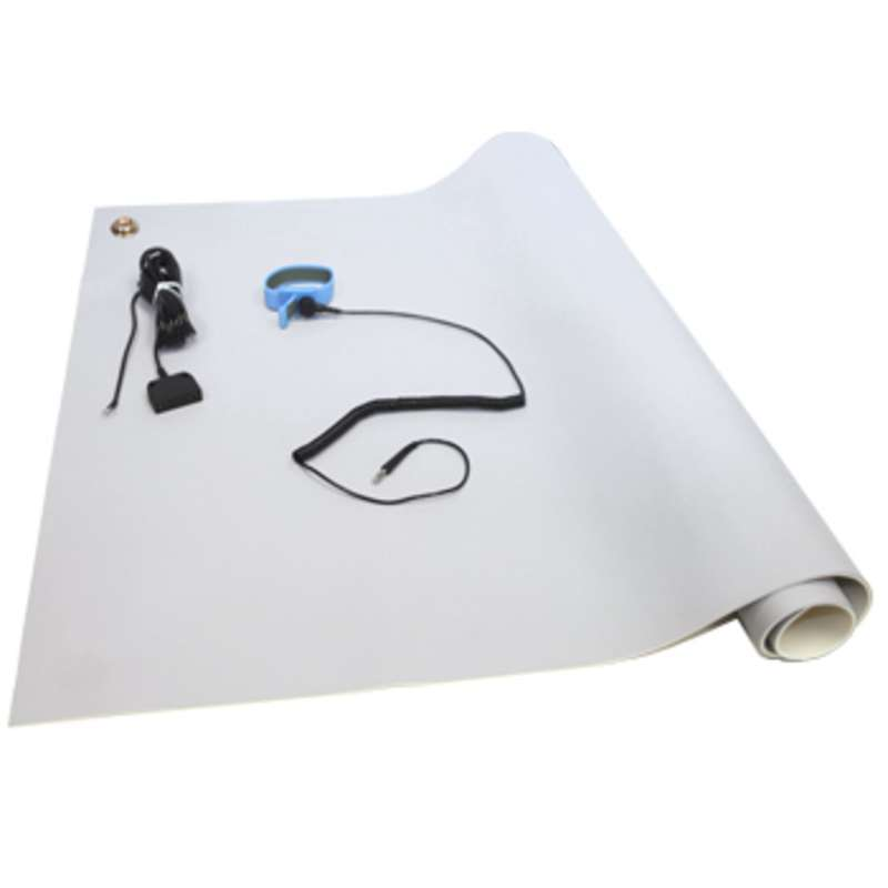 VT Series 3-Layer Dissipative Vinyl Worktop Mat Kit with Wrist Strap, Ground Cord and Two Snaps, Grey, 24 x 36 x .125