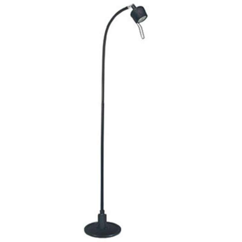 Hm1000 series 35 watt halogen floor lamp with gooseneck black