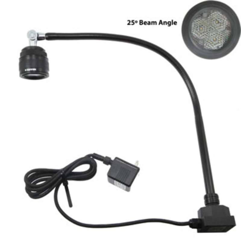 "SL9 Series High Voltage LED Task Light with 27"" Gooseneck Arm, 25° Beam Angle and Low Square Base, Black"