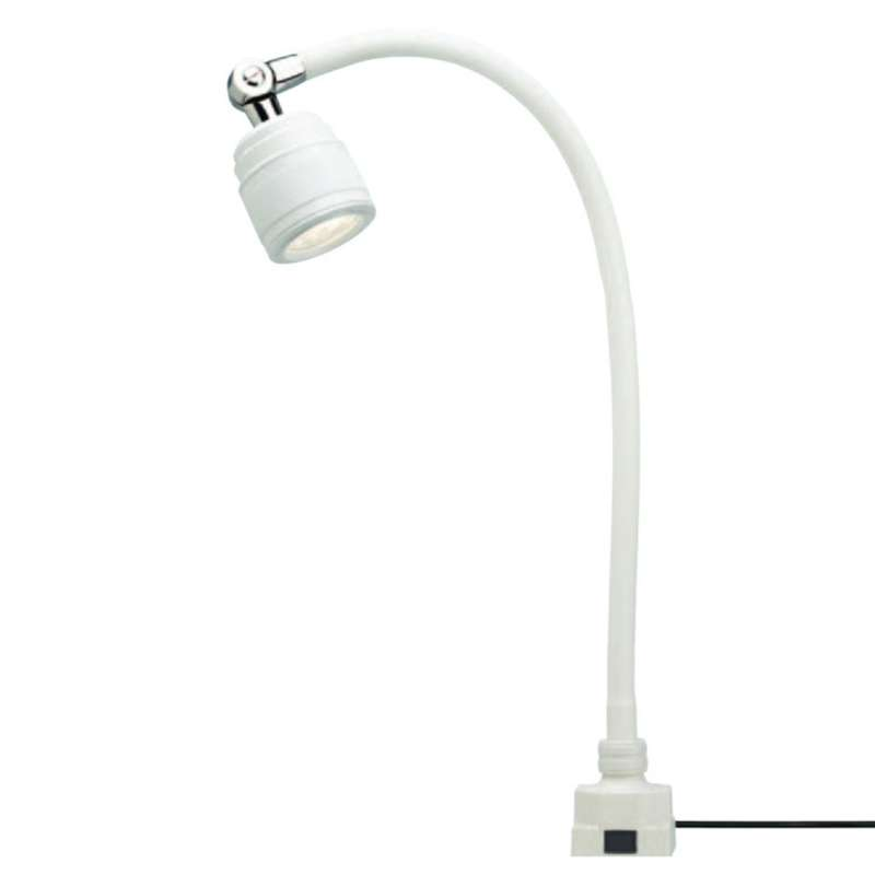 """SL9 Series High Voltage LED Task Light with 27"""" Gooseneck Arm, 25° Beam Angle and Low Square Base, White"""