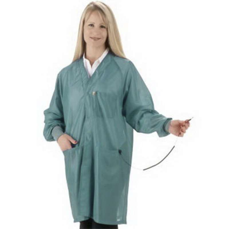 "ESD-Safe Hallmark Jacket with Cuffs and Ground Snap, Teal, Large, 32"" Long"