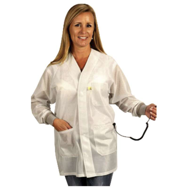 "ESD-Safe Hallmark Jacket in OFX-100 Material with Cuffs, White, 5X-Large, 32"" Long"