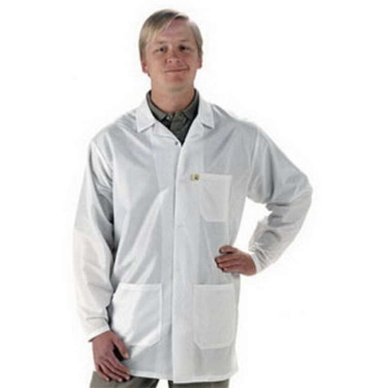 "ESD-Safe Econoshield Coat in ECX-500 Material, White, Medium, 33"" Long"