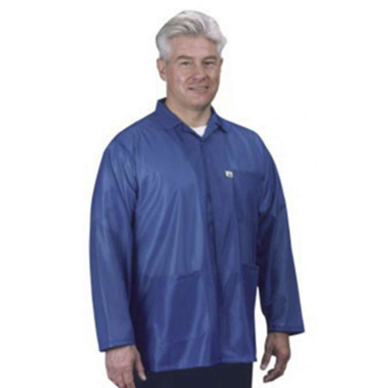 "ESD-Safe Traditional Jacket in IVX-400 Material with Grounding Key and Snaps, Royal Blue, Small, 32"" Long"