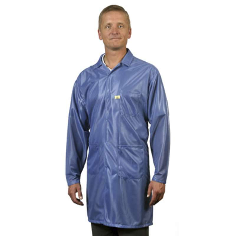 "ESD-Safe Traditional Style Lapel Coat in OFX-100 Material with Grounding Key and Snaps , Blue, 6XL, 40"" Long"