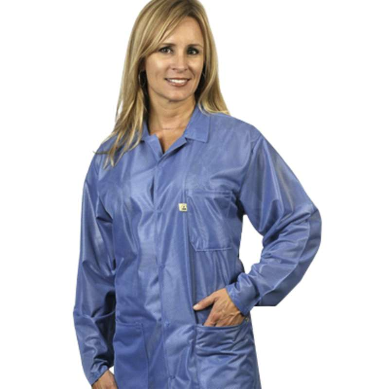 "ESD-Safe Traditional Jacket in OFX-100 Material with Cuffs, Hi-Tech Blue, 3X-Large, 31"" Long"
