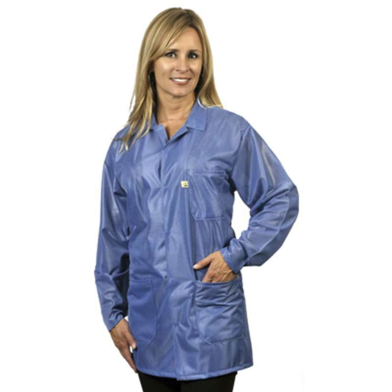 "ESD-Safe Traditional Jacket in OFX-100 Material with Grounding Key and Snaps, Hi-Tech Blue, 5X-Large, 33"" Long"