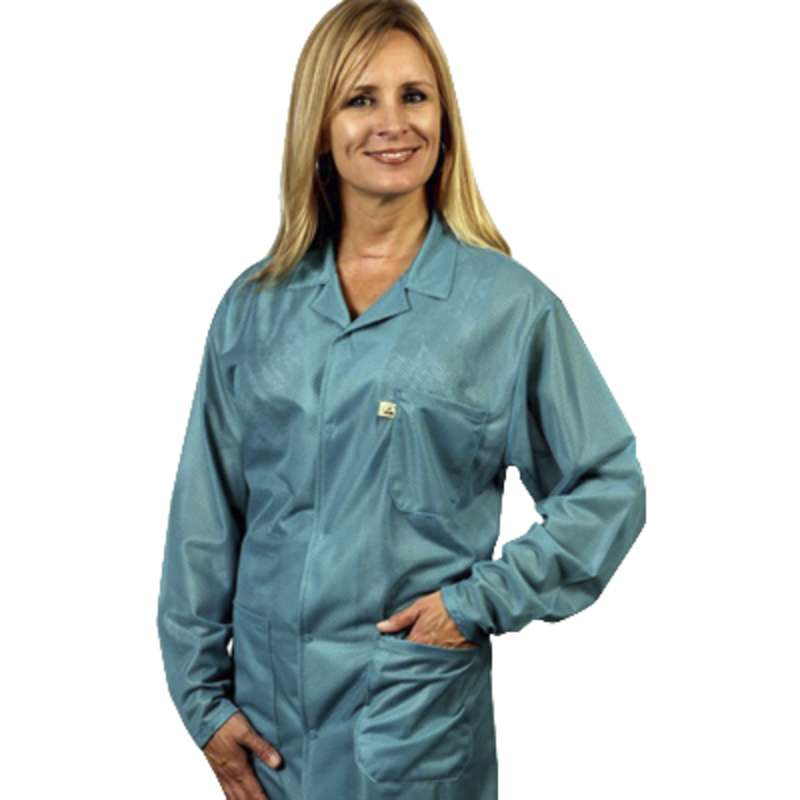 "ESD-Safe Traditional Jacket in OFX-100 Material, Teal, 3X-Large, 32"" Long"