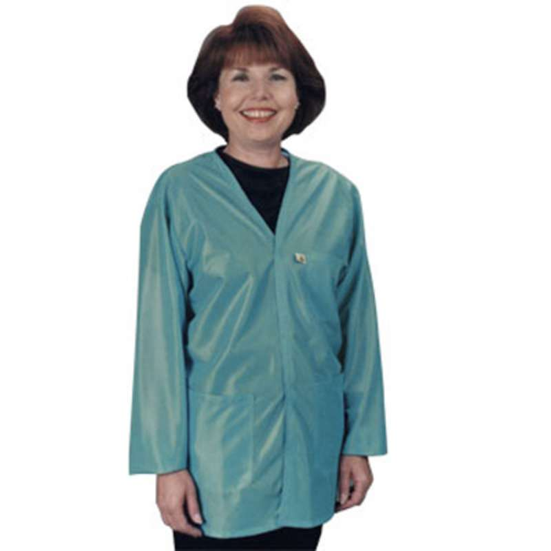 "ESD-Safe Traditional V-Neck Jacket with Cuffs in OFX-100 Material, Teal, Small, 32"" Long"