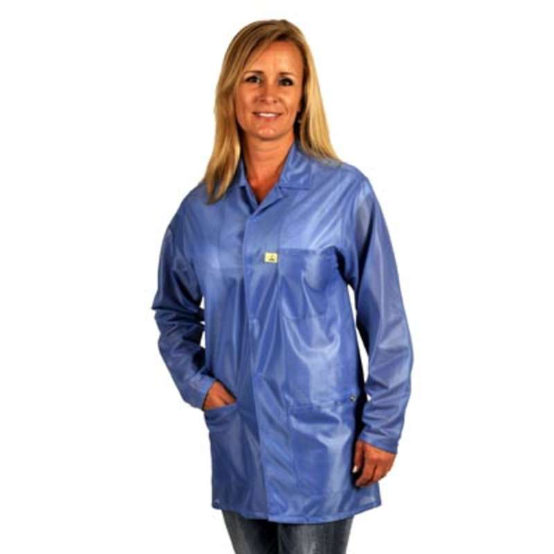 "ESD-Safe Traditional Jacket in OFX-100 Material with Grounding Key and Snaps, Hi-Tech Blue, Small, 31"" Long"