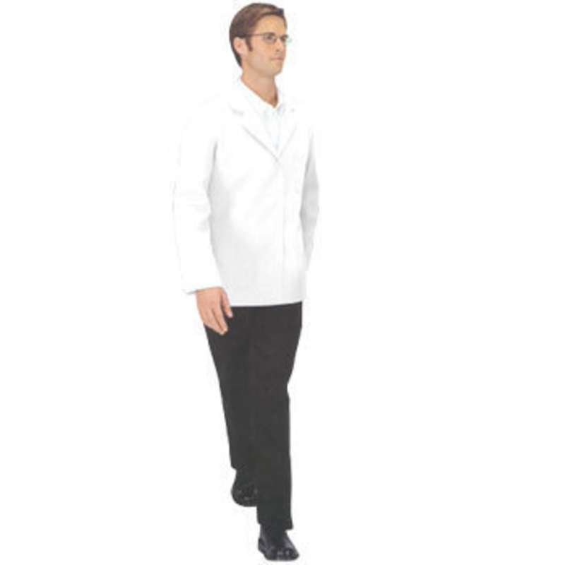 "ESD-Safe Nylostat Jacket in Cotton/Poly Woven Fabric, White, Large, 29-1/2"" Long"