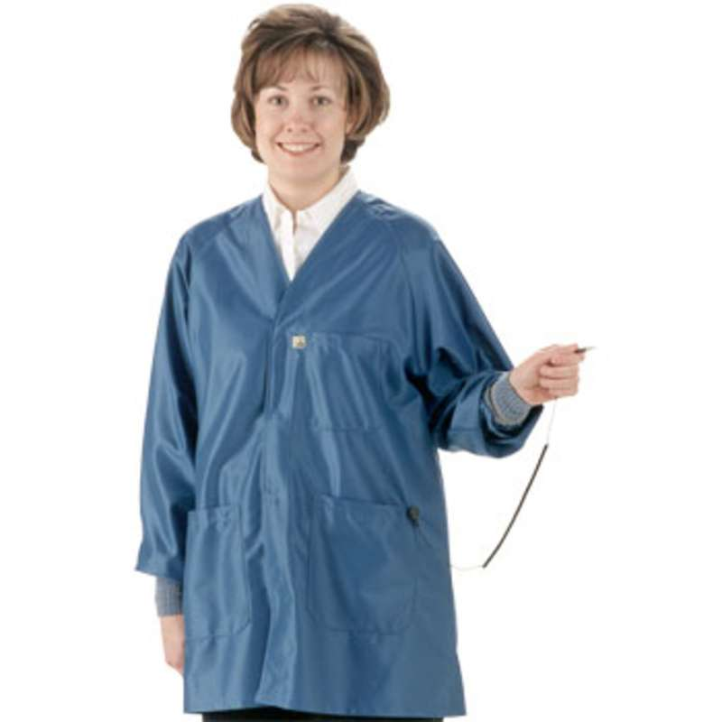 "ESD-Safe Hallmark Style Coat in IVX-400 Fabric with Cuffs, Royal Blue, Large, 41"" Long"